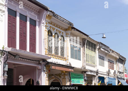 Restored Sino portuguese architecture on Thalang Road in old Phuket Town, Thailand - Stock Photo