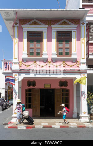 Restored Sino portuguese architecture on Soi Romanee in old Phuket Town, Thailand - Stock Photo