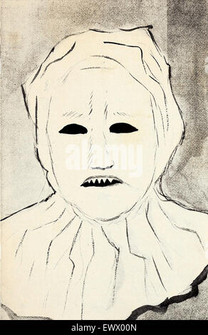 This is a drawing of the mask worn by the organizers of the original Ku Klux Klan, loaned by the Archives of History - Stock Photo