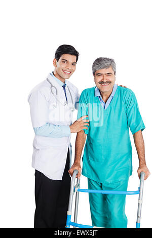 indian Doctor and Patient Support Walker Walking - Stock Photo