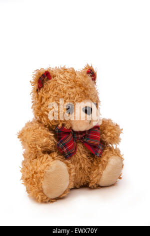 f32acc4f902 Teddy bear with ribbon tied around neck and cowboy hat on