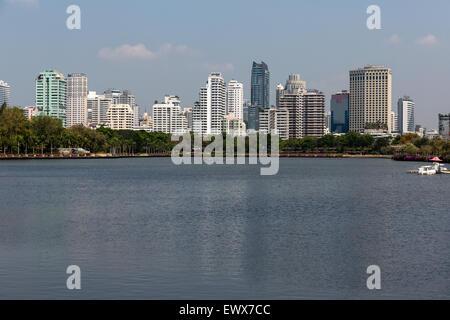 Benjakiti Park, skyline, Bangkok, Thailand - Stock Photo