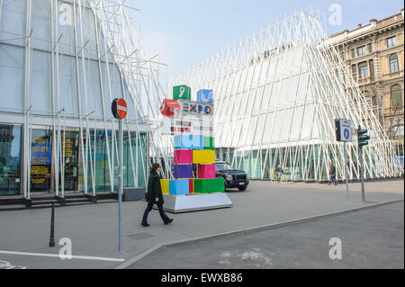 MILAN, ITALY - MARCH 19, 2015: On the streets of the city. EXPO halls. - Stock Photo