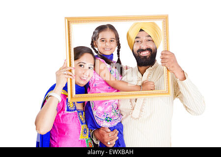 indian Punjabi Parents and daughter Picture Frame Stock Photo ...