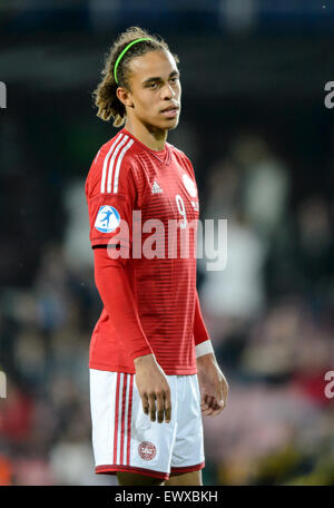 Prague, Czech Republic. 27th June, 2015. Yussuf Poulsen reacts during the UEFA Under-21 European Championships 2015 - Stock Photo