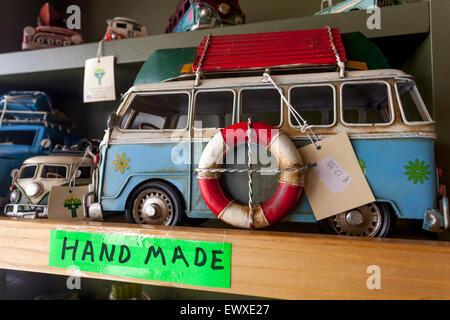 Souvenir from Rethymno, Crete, Greek Island, Greece, Europe  Hand made Volkswagen Westfalia car model - Stock Photo