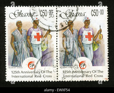 Ghana, stamp, post mark, Africa - Stock Photo