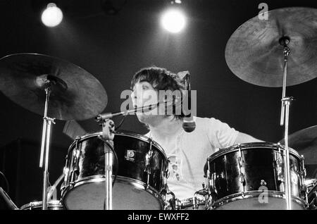 British rock group The Who performing on stage during a concert at the University of Reading.  Pictured is drummer - Stock Photo