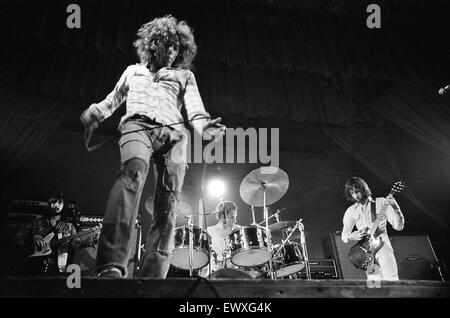British rock group The Who performing on stage during a concert at the University of Reading.  left to right are: - Stock Photo