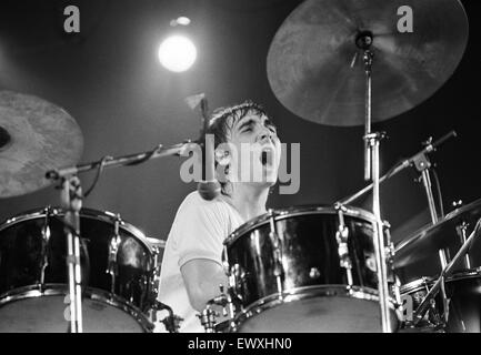 British rock group The Who performing on stage during a concert at the University of Reading.  Drummer Keith Moon. - Stock Photo
