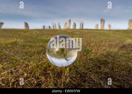 Mystical Glass Ball at the Callanish Stones Isle of Lewis Western Isles Outer Hebrides Scotland UK - Stock Photo