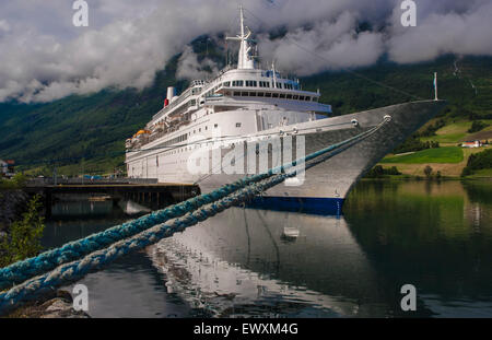 The Fred Olsen Line cruise ship Black Watch docked in the small Norweigian port of Olden