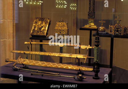 DEU, Germany, Aachen, the imperial insignia in the Coronation hall at the town hall.  DEU, Deutschland, Aachen, - Stock Photo