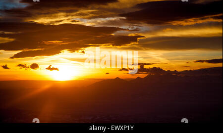 Beautiful sunrise above Tatra Mountains, view from Babia Gora National Park, Poland - Stock Photo