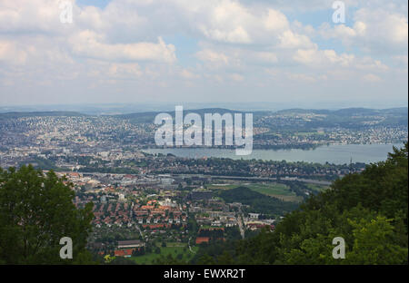 View over the city and lake of Zurich, from Uetliberg mountain - Stock Photo