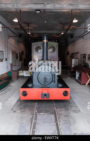 Narrow gauge steam engine 'Una' used to haul slate wagons at the National Slate Museum in Llanberis Wales - Stock Photo