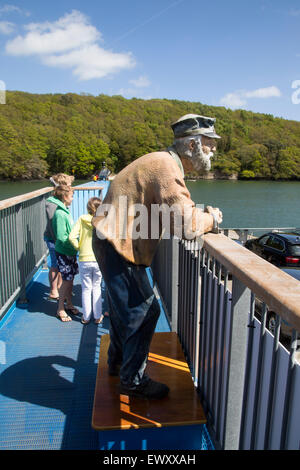 Sculpture of an Old Man on the King Harry Ferry Bridge vehicular chain ferry crossing River Fal, Cornwall, England, - Stock Photo