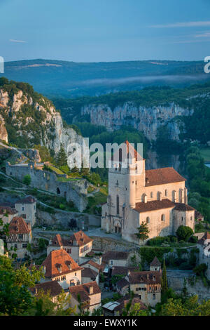 Early morning over Saint-Cirq-Lapopie, Lot Valley, Midi-Pyrenees, France - Stock Photo