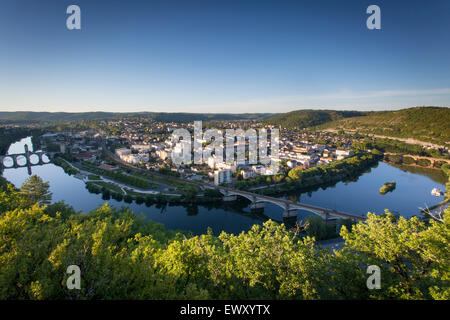 Town of Cahors from Mount Saint-Cyr with Pont Valentre crossing River Lot. Midi-Pyrenees, France - Stock Photo