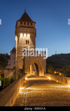 14th Century Pont Valentre and River Lot in Cahors, Midi-Pyrenees, France - Stock Photo