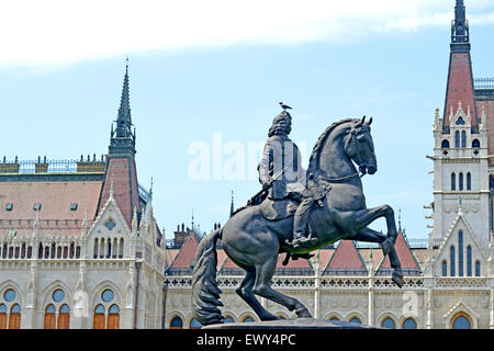 Equestrian Monument of Ferenc II Rakoczi, Prince of Transylvania, in front of Hungarian Parliament Building, Budapest, - Stock Photo