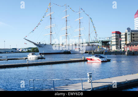 one big sail ship in gothenburg sweden the name is viking - Stock Photo