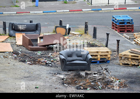 Rubbish at bonfire site in the Loyalist Fountain Estate, Londonderry (Derry), Northern Ireland. - Stock Photo