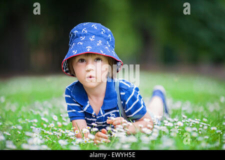 Boy lying in the park playing with daisies, Czech Republic - Stock Photo