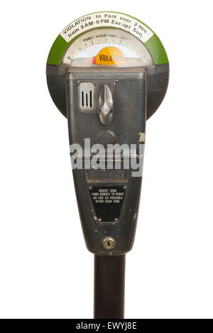 Old Violation Parking Meter Isolated on White Background. - Stock Photo