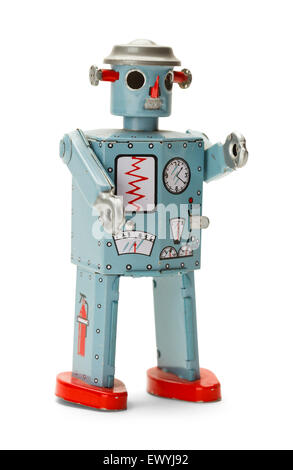 Retro Wind Up Space Robot Isolated on White Background. - Stock Photo