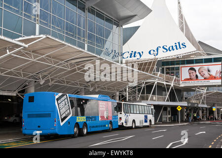 Shuttle buses outside Auckland Airport,Auckland,City of Sails,New Zealand - Stock Photo
