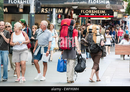 Backpackers in centre of Auckland.Auckland,New Zealand - Stock Photo
