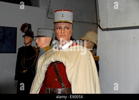 Ouvrage Hackenberg,French soldier,Spahis officer,Maginot line,WWII,Veckring,Moselle,Lorraine,France - Stock Photo