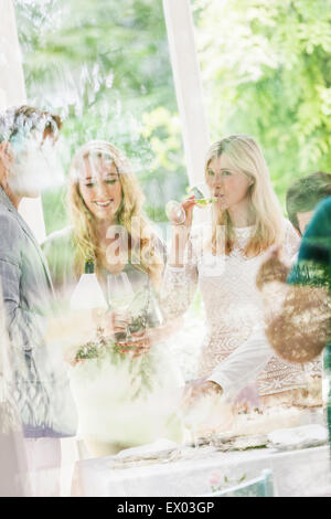 Looking through window at family party in dining room - Stock Photo