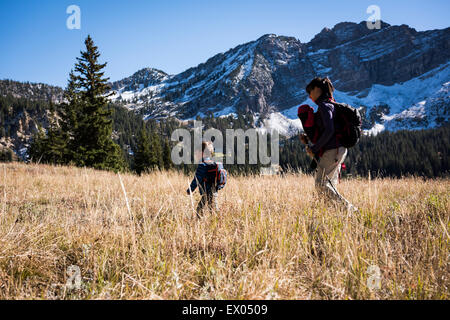 Mother and children hiking, Catherine's Pass Trail, Albion Basin, Alta, Utah, USA - Stock Photo