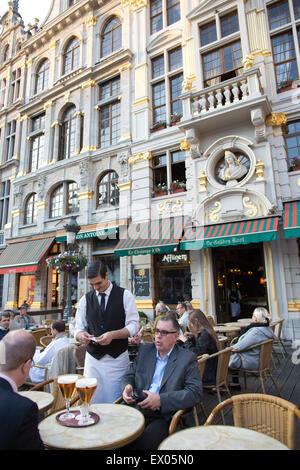 """La Chaloupe d'Or', The Golden Boot café, Grand Place market square, Brussels, Bruxelles - Stock Photo"
