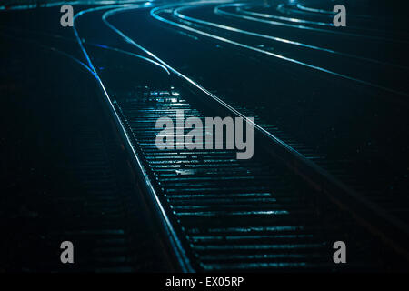 Train tracks at night, Seattle, USA - Stock Photo