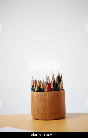 Colouring pencils in pot - Stock Photo