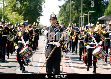 Band of the Royal Logistics Corp marching at the Farewell to the Garrison Festival, Bordon, Hampshire, UK. Saturday - Stock Photo