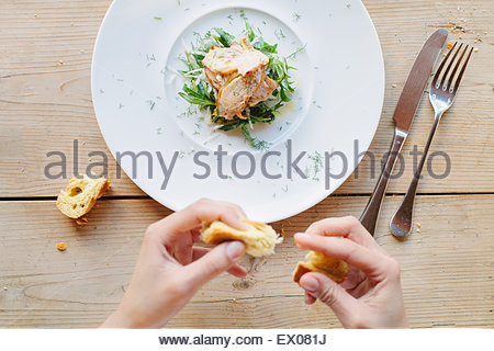 Female hands eating bread with roasted guinea fowl on greens with tarragon - Stock Photo