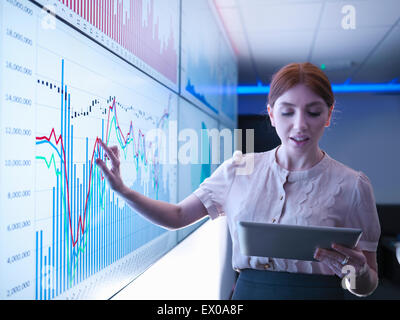 Businesswoman studying graphs on screens with digital tablet - Stock Photo