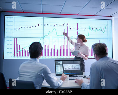 Businesswoman making presentation to colleagues in front of graphs on screen - Stock Photo