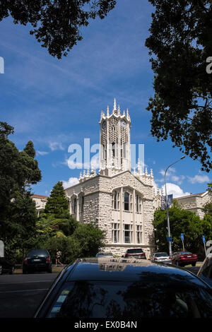 The Clocktower, arts and commerce building, at Auckland university, New Zealand. Stock Photo