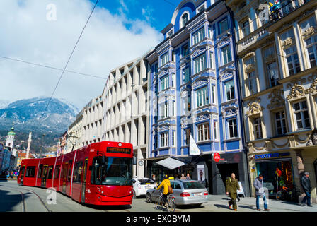 Maria-Theresien-Strasse, new town, Innsbruck, Inn Valley, Tyrol, Austria - Stock Photo
