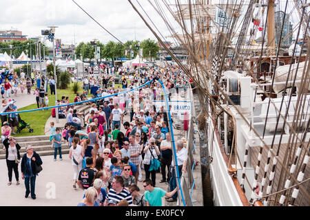 Belfast, Northern Ireland, UK. 02nd July, 2015. Crowds gather at the Tall Ships event in Belfast Credit:  Stephen - Stock Photo
