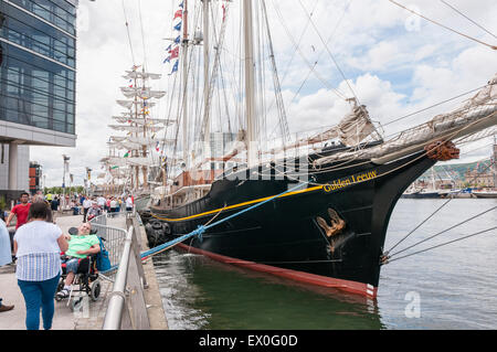 Belfast, Northern Ireland, UK. 02nd July, 2015. The Gulden Leeuw sailing ship at the Tall Ships event in Belfast - Stock Photo