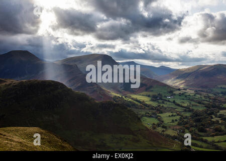 A dramatic view from the summit of Cat Bells looking towards the Derwent Fells, Lake District National Park, Cumbria, - Stock Photo