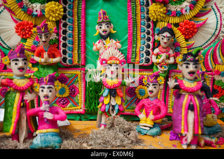 Rice sculptures in a religious ceremony in Bali. - Stock Photo