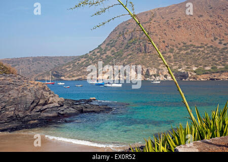Yachts and sailing boats in the bay of Tarrafal on the island Santiago, Cape Verde / Cabo Verde, Western Africa - Stock Photo