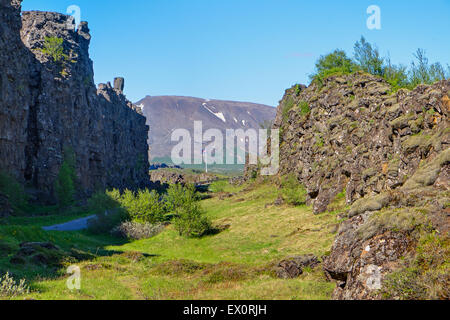 Pingvellir National park in Iceland with the rift valley between North American and Eurasian Plates - Stock Photo